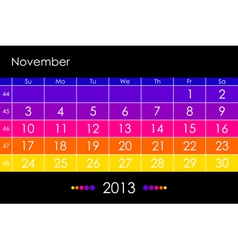 2013 November vector image vector image