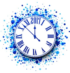 2017 new year blue clock background vector