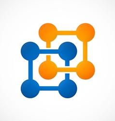 Square dot technology logo vector
