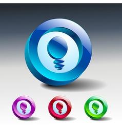 glass icons set light ideas lamp vector image