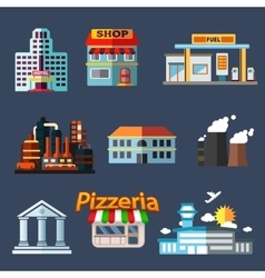 Industrial education and transportation buildings vector