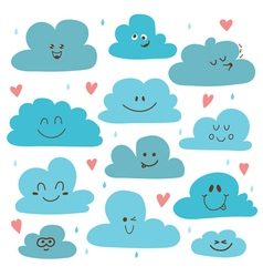 Cute hand drawn clouds funny weather theme vector