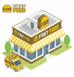 Fast food building vector