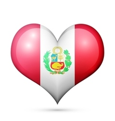 Peru heart flag icon vector