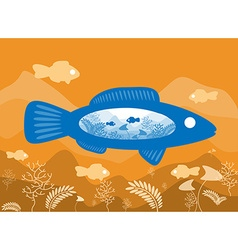 Fish on background sea floor with an abstract vector