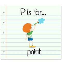 Flashcard letter p is for paint vector