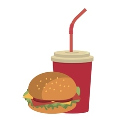 Colorful cup and burger graphic vector