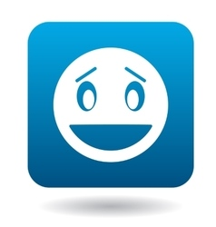 Surprised emoticon with open mouth icon vector