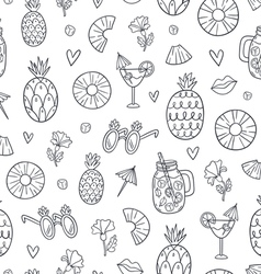 Pineapple mood doodle pattern vector