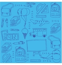 Hand draw clasroom supplies doodles for kids vector