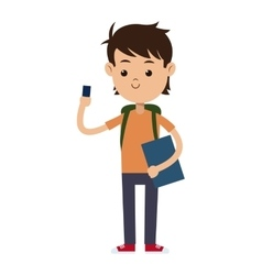 Back to school boy student book bag and mobile vector