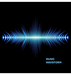 Blue sound waveform with sharp edges vector