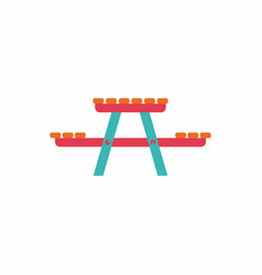 Camping table wooden park bench vector