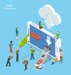 Cloud download flat isometric concept vector