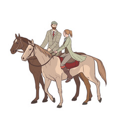 Couple horseback riding lovers guy and girl on vector