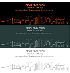 Detroit event banner hand drawn skyline vector
