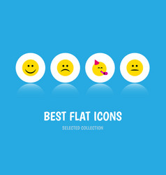 Flat icon face set of party time emoticon vector