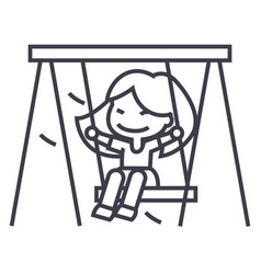 girl on swinglittle line icon sign vector image vector image