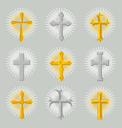 Golden and silver church cross icon set vector