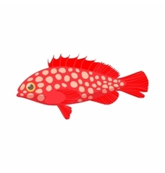 Hemichromis fish icon cartoon style vector image