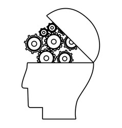 Human head gear work business outline vector
