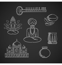 Indian culture and religion icons vector image vector image