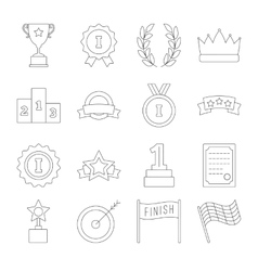 Line victory icon set vector
