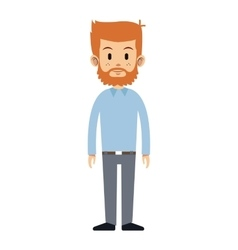Man beard freckles haired standing vector
