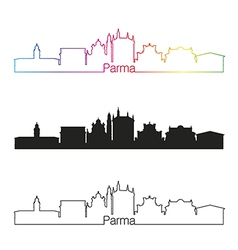 Parma skyline linear style with rainbow vector