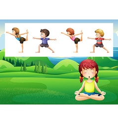 People doing yoga in the park vector image