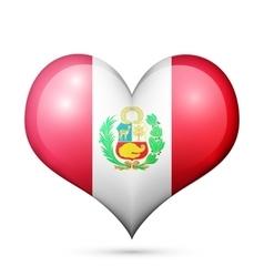 Peru heart flag icon vector