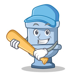 Playing baseball toilet character cartoon style vector