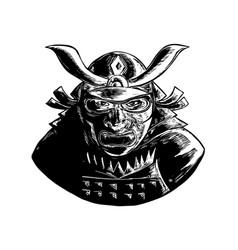 Samurai warrior wearing mempo woodcut vector