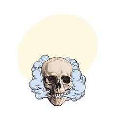 smoke coming out of fleshless skull death mortal vector image