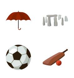 Umbrella stone ball cricket england country vector
