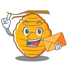 With envelope bee hive character cartoon vector