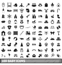 100 baby icons set simple style vector image vector image