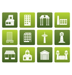 Flat different kind of building and city icons vector