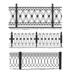 Metal wrought-iron gates grilles fences vector