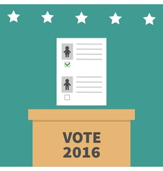 Ballot voting box with paper blank bulletin man vector