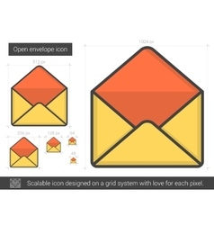 Open envelope line icon vector