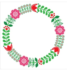 Finnish floral folk art round pattern - nordic vector