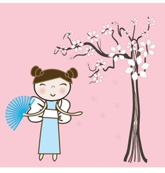 Geisha woman with an umbrella and butterfly vector