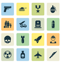 army icons set collection of fugitive rip vector image