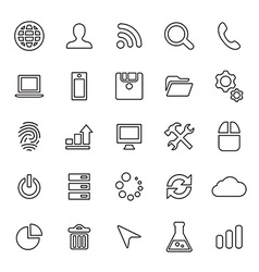25 outline universal development icons vector image