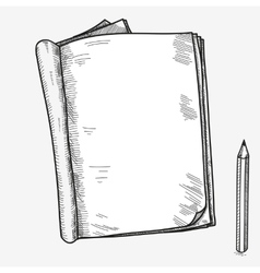 Hand drawn doodle sketch open notebook clear page vector image