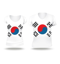 Flag shirt design of south korea vector