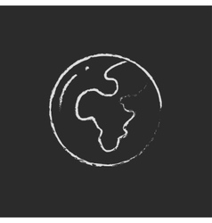 Globe drawn in chalk vector