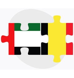 United arab emirates and belgium flags vector