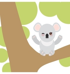 Funny cute koala sitting on a branch of a large vector